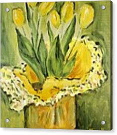 Easter Tulips Acrylic Print by Maria Langgle