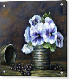 Flowers,pansies Still Life Acrylic Print by Katalin Luczay