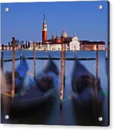 Gondolas And San Giorgio Maggiore At Night - Venice Acrylic Print by Barry O Carroll
