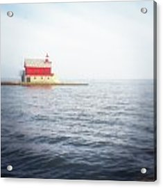 Grand Haven Lighthouse From North Pier Acrylic Print by Michelle Calkins
