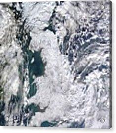 Great Britain Snowy Acrylic Print by Artistic Panda