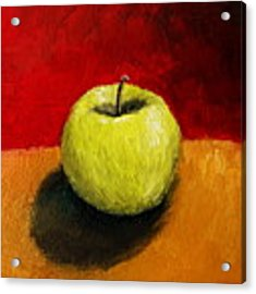 Green Apple With Red And Gold Acrylic Print