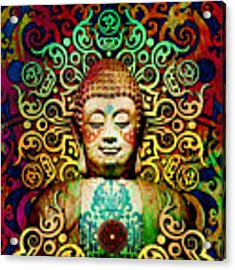 Heart Of Transcendence - Colorful Tribal Buddha Acrylic Print by Christopher Beikmann