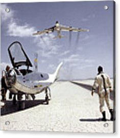 Hl-10 On Lakebed With B-52 Flyby Acrylic Print by Artistic Panda