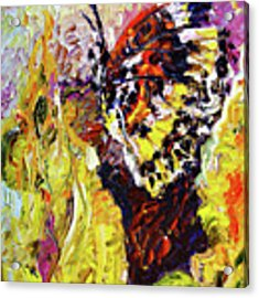Impressionist Butterfly Yellow Flower Acrylic Print by Ginette Callaway