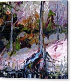 Impressionist Landscape Portrait Wetland Tree Acrylic Print by Ginette Callaway