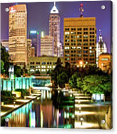 Indianapolis City Skyline And Canal Walk Acrylic Print by Gregory Ballos