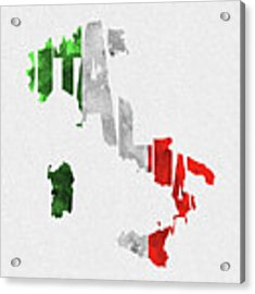 Italy Typographic Map Flag Acrylic Print