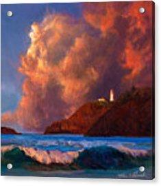 Kilauea Lighthouse - Hawaiian Cliffs Sunset Seascape And Clouds Acrylic Print by Karen Whitworth