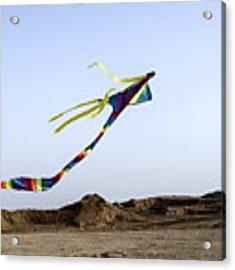 Kite Dancing In Desert 03 Acrylic Print by Arik Baltinester
