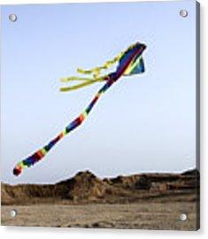 Kite Dancing In Desert 04 Acrylic Print by Arik Baltinester