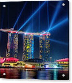 Laser Show At Mbs Singapore Acrylic Print by Yew Kwang