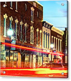 Light Trails Through The Rogers Arkansas Panoramic Skyline Acrylic Print by Gregory Ballos