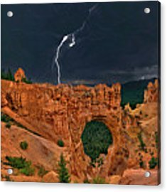 Lightning Over Natural Bridge Formation Bryce Canyon National Park Utah Acrylic Print by Dave Welling
