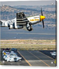 P51 Mustang Little Horse Gear Coming Up Friday At Reno Air Races 5x7 Aspect Signature Edition Acrylic Print by John King