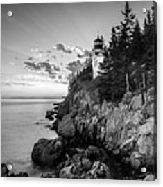 Maine Acadia Bass Harbor Lighthouse In Black And White Acrylic Print by Ranjay Mitra