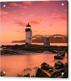 Maine Lighthouse Marshall Point At Sunset Acrylic Print by Ranjay Mitra