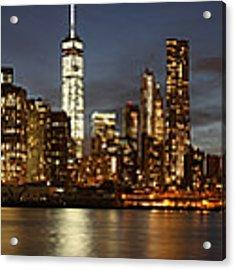 Manhattan Skyline At Night - Panorama Acrylic Print by Nathan Rupert