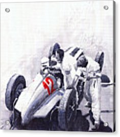 Mercedes Benz W125 Rudolf Caracciola The German Grand Prix Nurburgring 1937  Acrylic Print by Yuriy Shevchuk