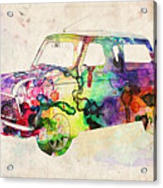 Mini Cooper Urban Art Acrylic Print by Michael Tompsett