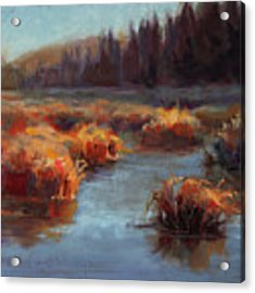 Misty Autumn Meadow With Creek And Grass - Landscape Painting From Alaska Acrylic Print by Karen Whitworth