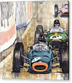 Monaco Gp 1964 Brm Brabham Ferrari Acrylic Print by Yuriy Shevchuk
