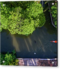 Monk Rowing Boat Along Floating Market Aerial View Acrylic Print by Pradeep Raja PRINTS
