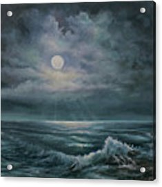 Moonlit Seascape Acrylic Print by Katalin Luczay