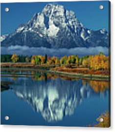 Morning Cloud Layer Oxbow Bend In Fall Grand Tetons National Park Acrylic Print by Dave Welling