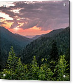 Morton Overlook Cloudy Sunset Acrylic Print by Rima Biswas