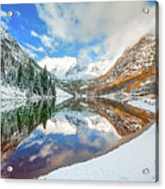 Natures Divine Canvas - Maroon Bells Aspen Colorado Acrylic Print by Gregory Ballos