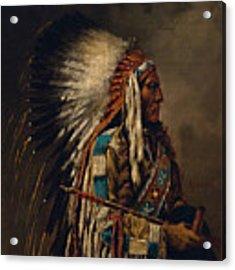 Nez Perce Chief Acrylic Print by Edgar S Paxson