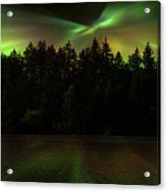 Northern Lights Woodland  Acrylic Print by Gigi Ebert