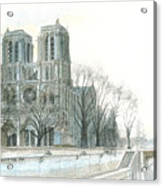 Notre Dame Cathedral In March Acrylic Print by Dominic White