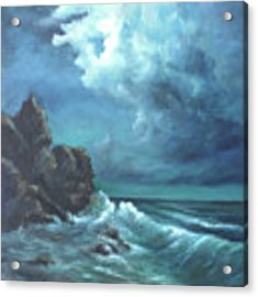 Seascape And Moonlight An Ocean Scene Acrylic Print by Katalin Luczay