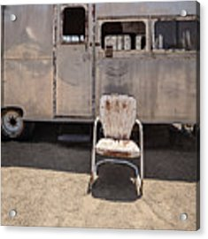 Old 1930 Silver Camping Trailer Acrylic Print by Edward Fielding