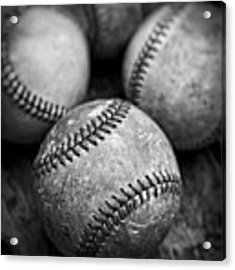 Old Baseballs In Black And White Acrylic Print by Edward Fielding