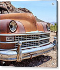 Old Cars In The Desert, Eldorado Canyon, Nevada Acrylic Print by Edward Fielding