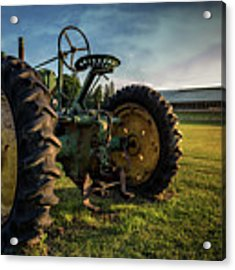 Old Tractor In The Field Outside Of Keene Nh Acrylic Print by Edward Fielding