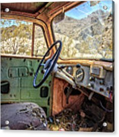 Old Truck Interior Nevada Desert Acrylic Print by Edward Fielding