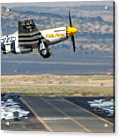 P51 Mustang Little Horse Gear Coming Up Friday At Reno Air Races 16x9 Aspect Signature Edition Acrylic Print by John King