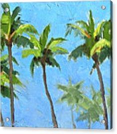 Palm Tree Plein Air Painting Acrylic Print by Karen Whitworth