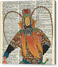 Pekin Opera Chinese Costume Over A Old Dictionary Page Acrylic Print by Anna W