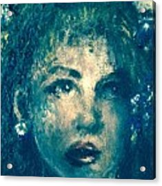 Portrait In Blue Acrylic Print by Laurie Lundquist