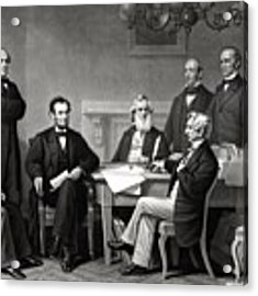President Lincoln And His Cabinet Acrylic Print