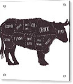 Primitive Butcher Shop Beef Cuts Chart T-shirt Acrylic Print