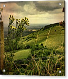 Rainy Day Hilltop View On The South Downs Acrylic Print by Chris Lord