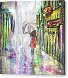 Rainy Paris Day Acrylic Print by Darren Cannell