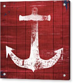 Red And White Anchor- Art By Linda Woods Acrylic Print by Linda Woods