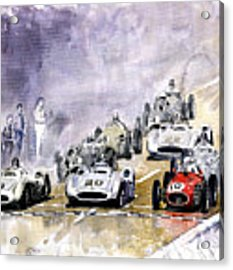 1954 Red Car Maserati 250 France Gp Acrylic Print